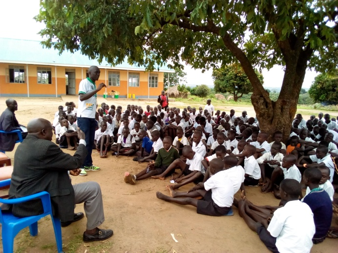 Children at Ponyura primary school attending to awareness on drug abuse and child rights