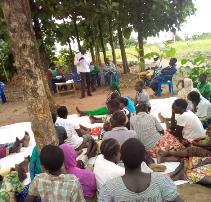 HADS protection team facilitating a community dialoque in Lokujo
