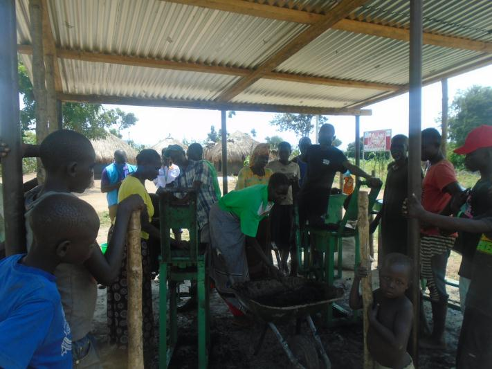 Joint monitoring of briquette making with UNHCR.