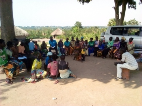 Community members attending a session on drug &substance abuse in the villages of Adranga&Waju1.